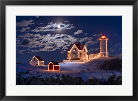 Framed Moon Over Nubble Print