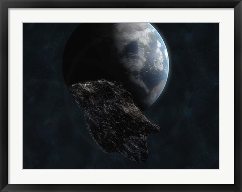 Framed Asteroid in Front of Earth Print