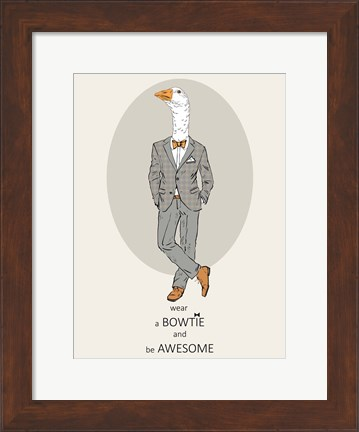 Framed Goose in Pin Suit Print