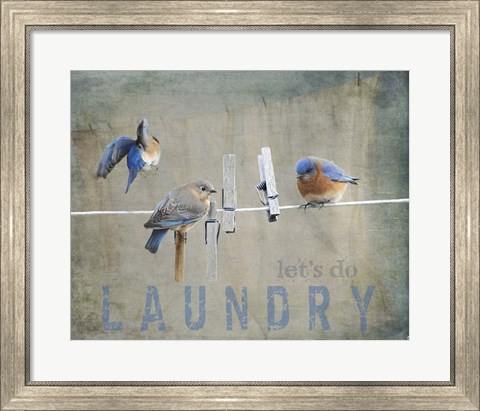 Framed Laundry Day Bluebirds Print