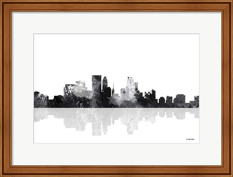 Framed Minneapolis Minnesota Skyline BG 1 Print