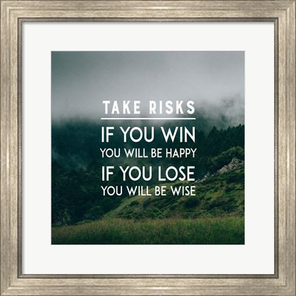 Framed Take Risks - Forest Landscape Color Print