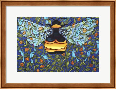 Framed Bee And Blue Birds Print